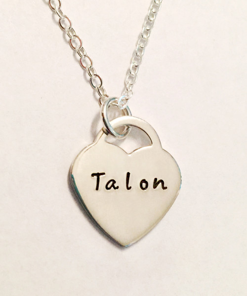 Heart Lock Hand Stamped Name Necklace all .925 Sterling Silver