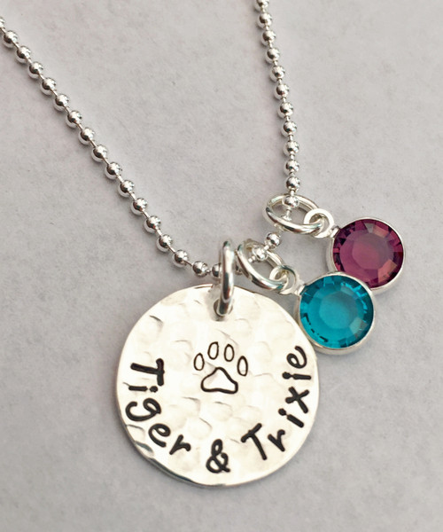 Hand Stamped Dog Paw/Cat Paw Charm with Pet Name and Genuine Swarovski Birthstone, all Sterling Silver.