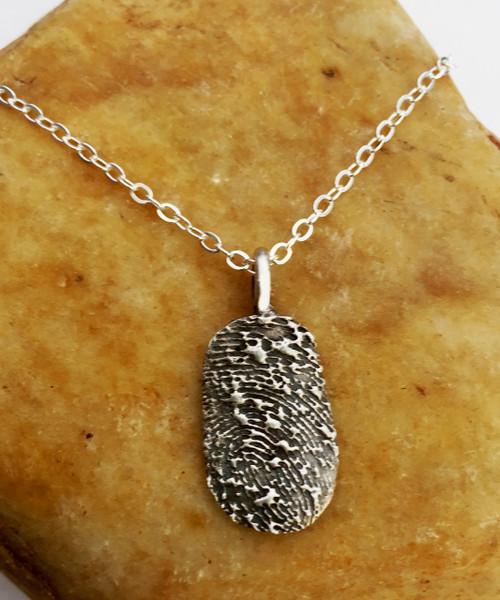 Oval Fingerprint Necklace Oxidized .999 Fine Silver