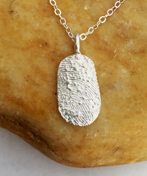 Oval Fingerprint Necklace Polished .999 Fine Silver