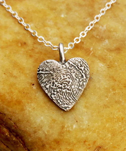 Small Heart Fingerprint Necklace Oxidized .999 Fine Silver