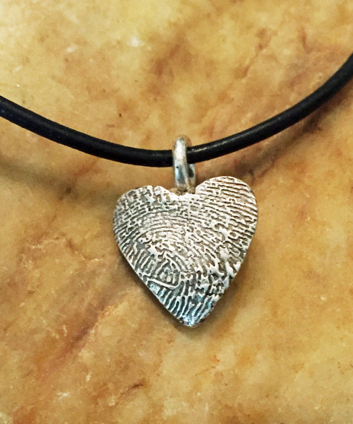 Small Heart Fingerprint Necklace Oxidized .999 Fine Silver