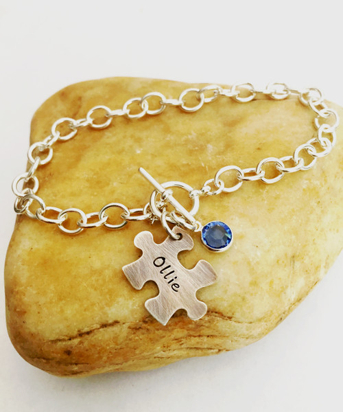 Hand Stamped Puzzle Piece & Birthstone on Cable Bracelet with Toggle Clasp, All Sterling Silver ~ Autism Awareness