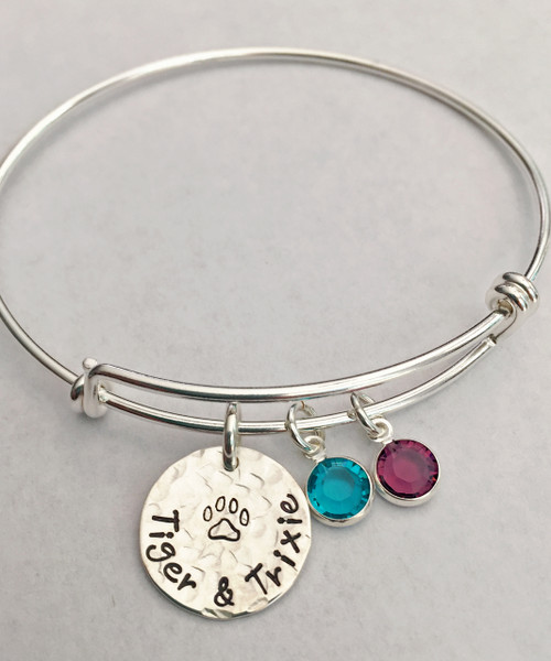ff7e1b58478 Bangle Bracelet with Hand Stamped Dog Paw/Cat Paw Charm with Pet Name &  Birthstone ...