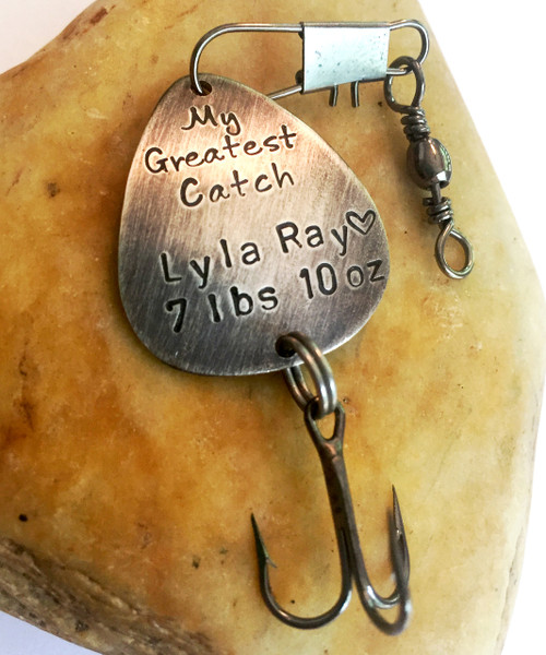 """Fishing Lure """"My Greatest Catch"""" Hand Stamped with baby birth stats"""
