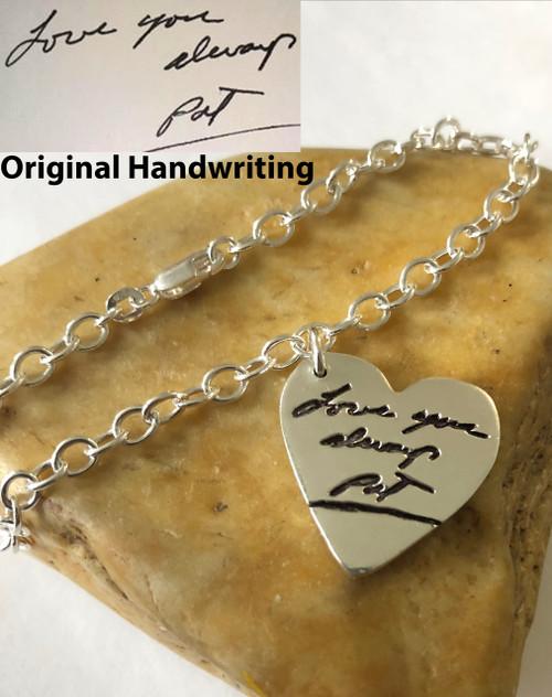 Heart Handwriting Link Bracelet