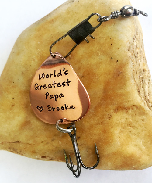 "Fishing Lure ""World's Greatest Papa ♥ names of children"""