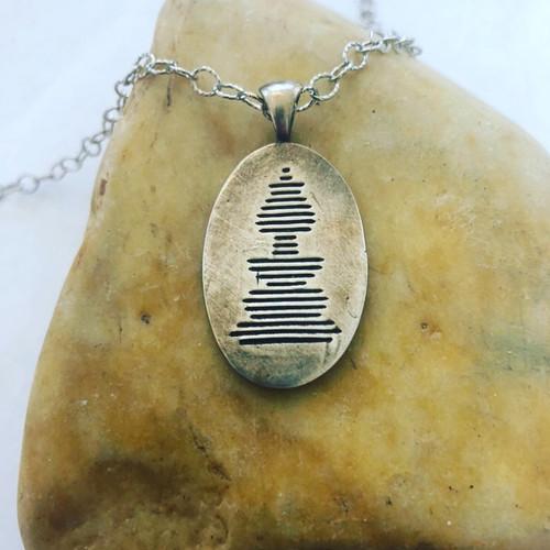 Large Oval Soundwave Necklace Oxidized .999 Fine Silver
