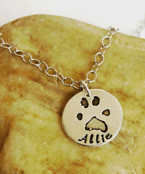 Actual Paw Print Necklace with Hand Stamped Name .999 Fine Silver