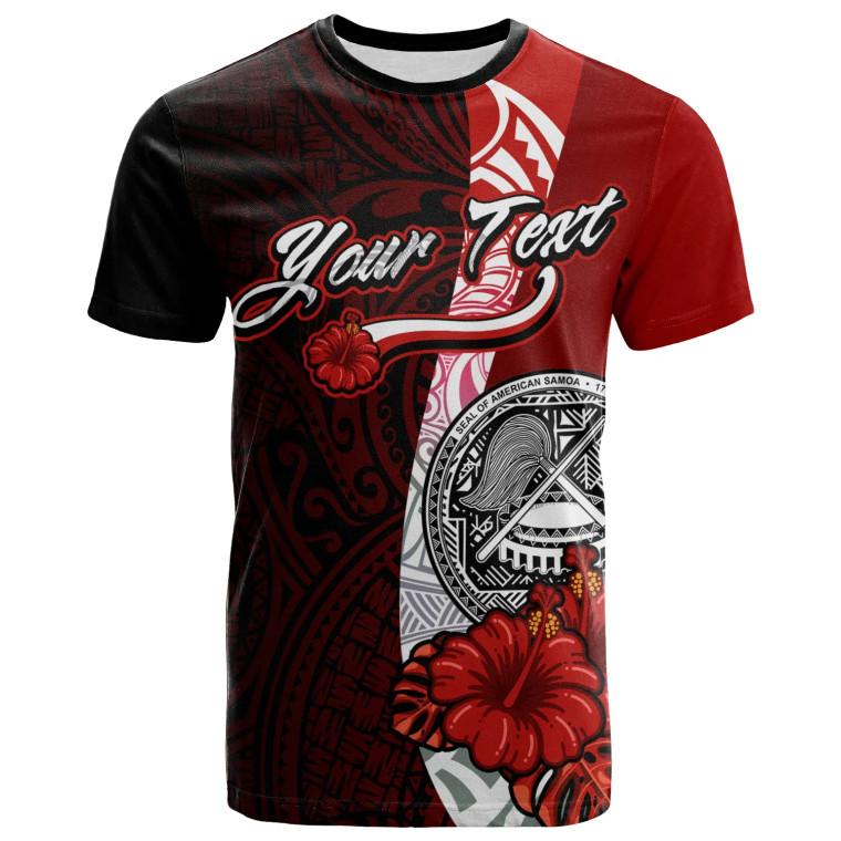 American Samoa Polynesian Custom Personalised T-shirt - Arm With Hibiscus 1