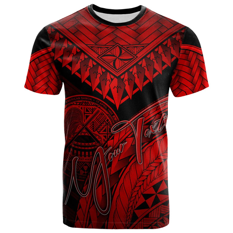 American Samoa Custom Personalised T-Shirt Red - Polynesian Necklace and Lauhala 1