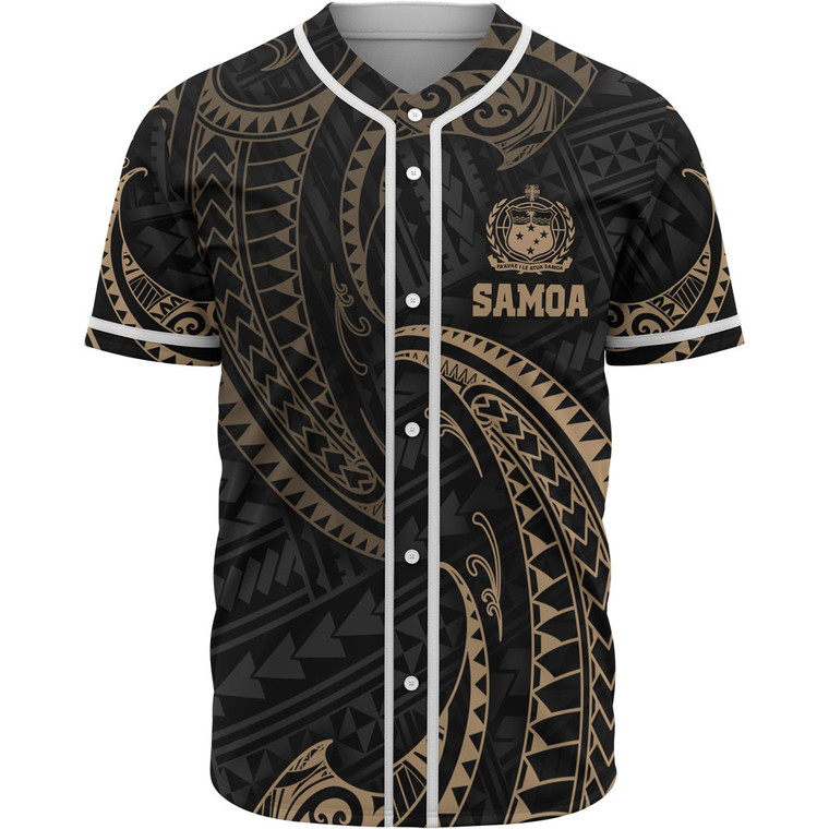 Samoa Polynesian Baseball Shirt - Gold Tribal Wave