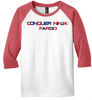 Red Frost Conquer Ninja Youth Baseball Tee