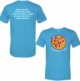 Aqua Triblend Heart-n- Soul Community Cafe | Front Chest Logo Tee