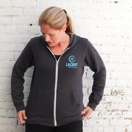 Dark Grey Heather Lucent Yoga & Fitness Zip Hoodie