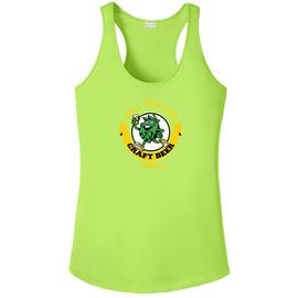 Will Run For Craft Beer | Ladie's Sport-Tek Racerback Tank-Lime Shock