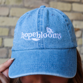 Hope Blooms Embroidered Denim Canvas Hat