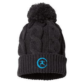 Lucent Yoga & Fitness Embroidered Charcoal Chunk Knit Beanie