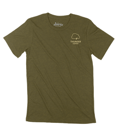 Super soft Thunder Coffee logo tee made with triblend fabric. Lighter and softer than our traditional tee. Support Local Coffee. Made with love at Shirts from Fargo shirt shop.