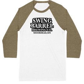 Olive/ White Swing Barrel Brewing Company Unisex Baseball Tee