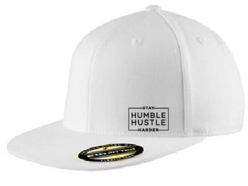 F5 STAY HUMBLE HUSTLE HARDER LOGO FLEXFIT FLAT BILL HAT