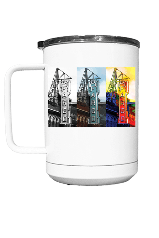 Take home a piece of Fargo's Iconic landmark with this Fargo Theater stainless steel mug. A 16oz, spillproof mug great for coffee, hot beverages and cold too. This Fargo Theater collage mug is great souvenir for anyone looking to grab a little piece of Fargo. Photo taken by a local Fargo photographer.