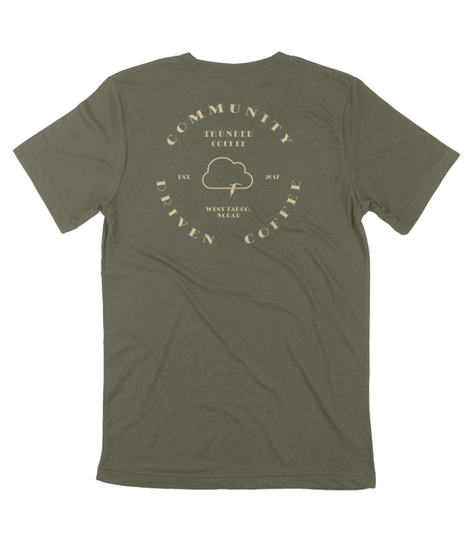Classic Thunder Coffee logo tee made with 100% cotton. Support Local Coffee. Made with love at Shirts from Fargo shirt shop.