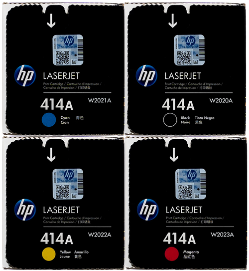 Original HP 414A SET W2020A W2021A W2022A W2023A Black Cyan Magenta Yellow LaserJet Toner Cartridges