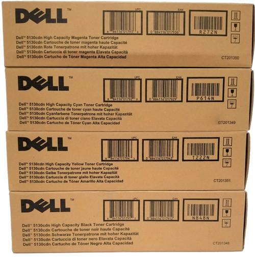 Original Dell 5130cdn N848N P614N R272N T222N High-Yield Toner Cartridges Set Black Cyan Magenta Yellow sku 330-5846 330-5850 330-5843 330-5852