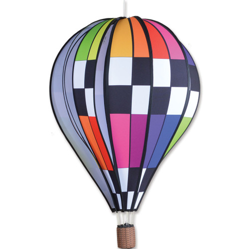 Wind Spinner Checkered Rainbow Hot Air Balloon 22 Inch