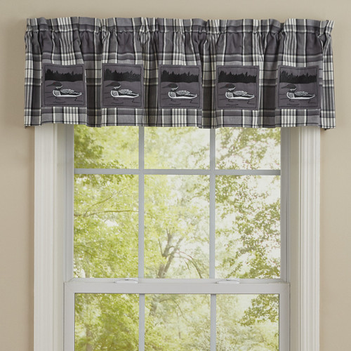 """GREY AREA LOON LINED PATCH VALANCE - 60x14""""L Pair"""