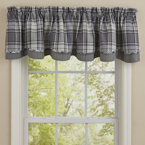 """GREY AREA LINED LAYERED VALANCE - 72x16""""L Pair"""