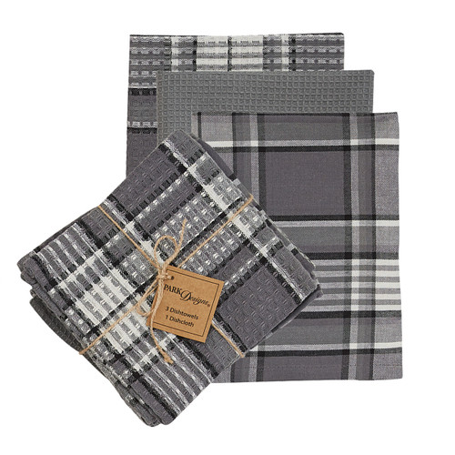 "GREY AREA 3 DISHTOWEL & 1 DISHCLOTH SET  DIMENSIONS: 18"" X 28"" AND 13"" X 13"""