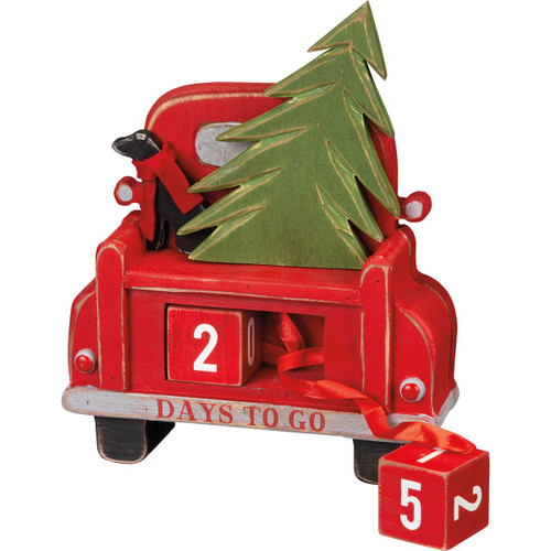 CARVED TRUCK CHRISTMAS COUNTDOWN MADE OF WOOD 7.75 X 9.75 X 2.25