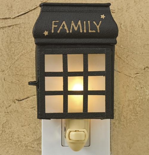 "FAMILY LANTERN NIGHT LIGHT DIMENSIONS: 5.25""H x 4""W x 1.25""D"