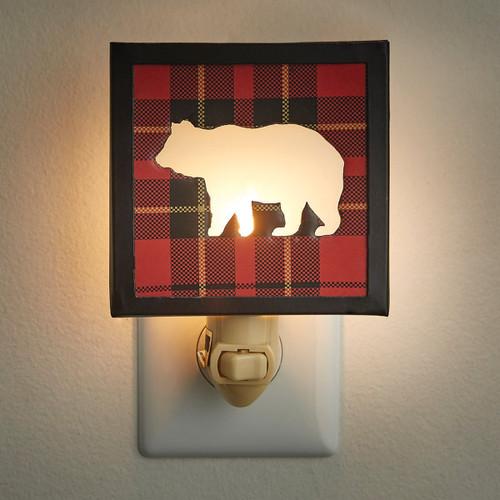 """SPORTSMAN PLAID BEAR NIGHT LIGHT DIMENSIONS: 5.5""""H X 4""""W X 2""""D"""
