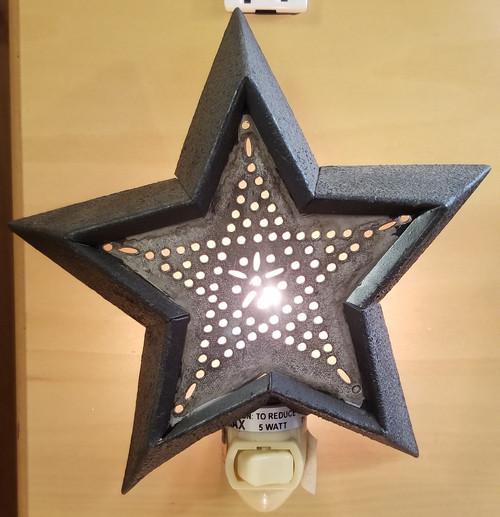 """BLACK STAR NIGHT LIGHT DIMENSIONS: 6"""" H X 5.5"""" W X .75"""" D"""