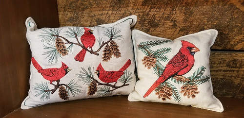 EMBROIDERED BALSAM FILLED CARDINAL PILLOWS 6x8.5x3 ~ 5.5×5×2