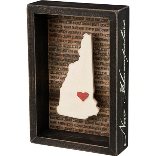 "NEW HAMPSHIRE BOX SIGN Dimensions:5.50"" x 8.25"" x 1.75"" This wooden inset box sign features a dimensional New Hampshire state silhouette, background list of the most populated cities, and adhesive mini heart to place on a hometown or favorite spot. Includes a back sawtooth hanger or can free-stand alone on a desk, mantel, or shelf."