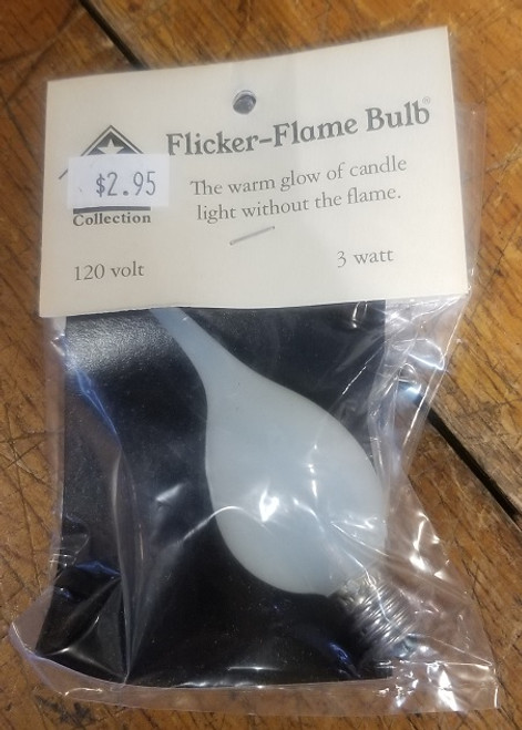 Flame Tip Orange Glow Flicker Bulb 3 Watt Candelabra size.