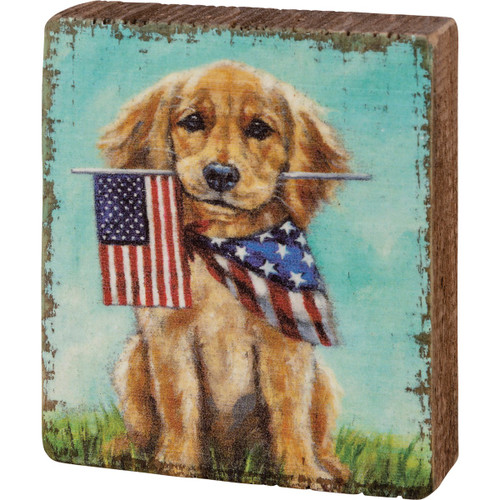 Block Sign - Puppy Flags 3X3.5X1