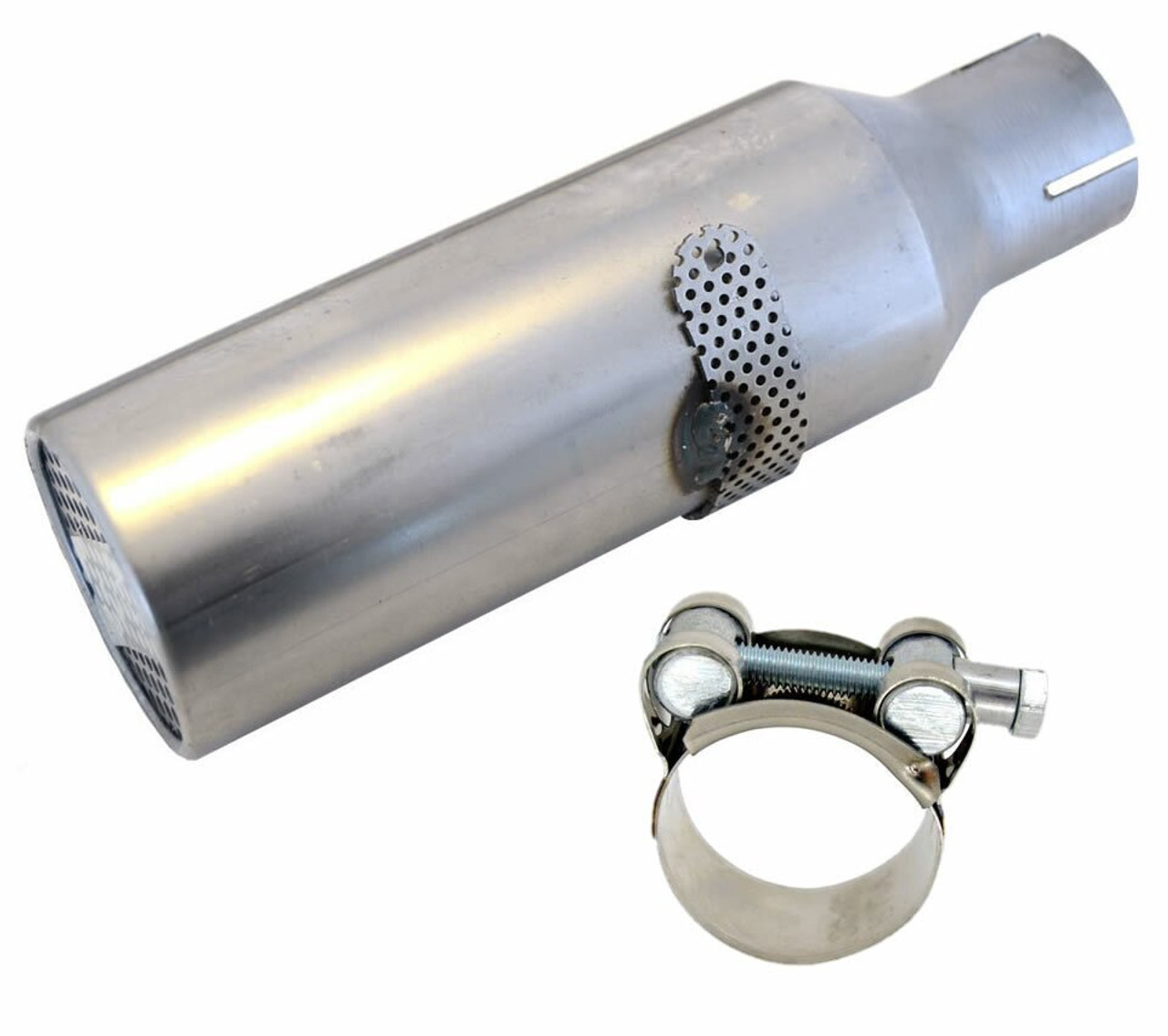 """RLV #4102 1-1/8"""" Exhaust Silencer w/ HD SS Clamp"""