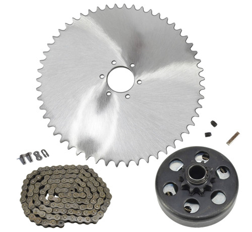Mini Bike 6 Hole 420 Sprocket, 5' Chain & Clutch