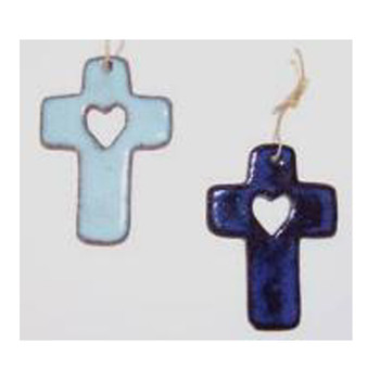 Suzy Cross with Cut Out Heart Ornament