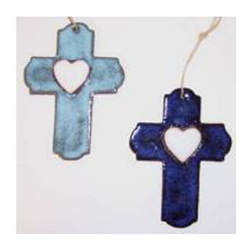 Suzy Cross with White Heart Ornament