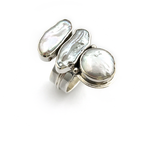 Bar Coin Pearl Ring