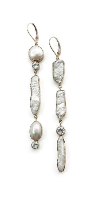 Long Asymmetrical White Topaz Pearl Dangle Earrings