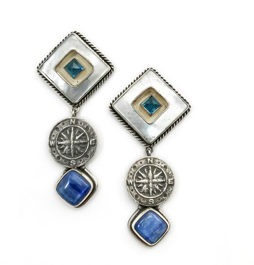 Mother Of Pearl Blue Topaz Kyanite Compass Earring