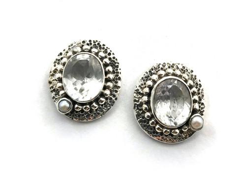White Topaz Asymmetrical Pearl Earring
