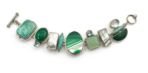 Amazonite Green Onyx Blue Topaz Bracelet